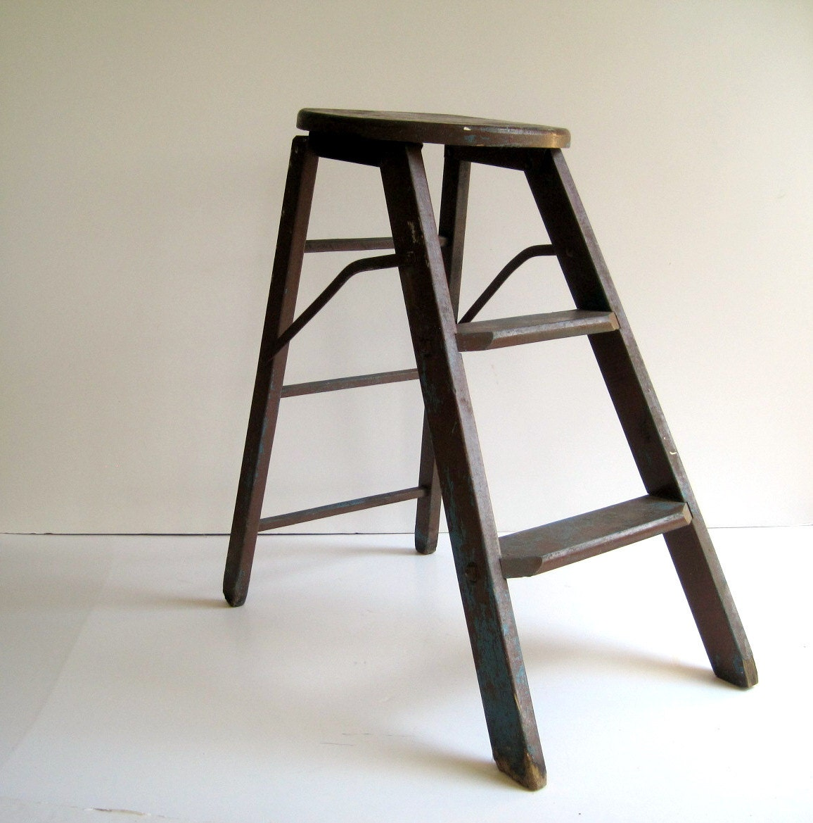 Vintage Wood Step Ladder Rustic Stool Early By Birdinhandvtg