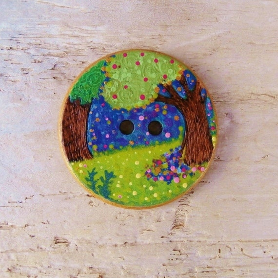 Woodland Trees - Sewing Button - Handpainted Wood - Large - 38 mm - UK Buttons - International Shipping