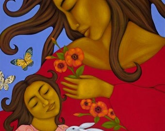 Mexican Folk Art Mother & Child Wall Decor Print of Original Painting By Tamara Adams