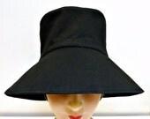 Retro Sun Hat in Black Canvas - Size M