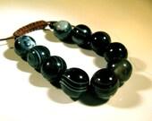 10 Large 15mm Black and Grey Round Smooth Sardonyx Beads