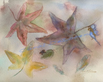 Watercolor Painting Fairy Art, Fairy Painting, Fairy Watercolor, Leaf Art, Fall Art, Autumn Art, Print Titled Falling Leaves and Faery