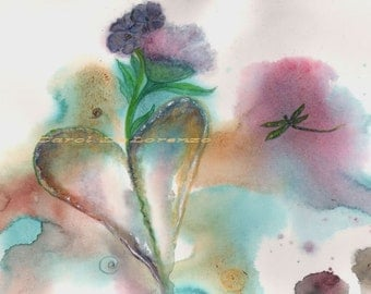 Watercolor Painting Heart Art, Heart Painting, Heart Watercolor, Dragonfly Art, Print Of Original Watercolor  Titled Heart Flowers