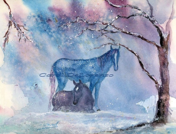 Watercolor Painting Horse Art, Horse Painting, Horse Watercolor, Snow Art, Winter Painting, Horse Art Print Titled Winter Mustangs