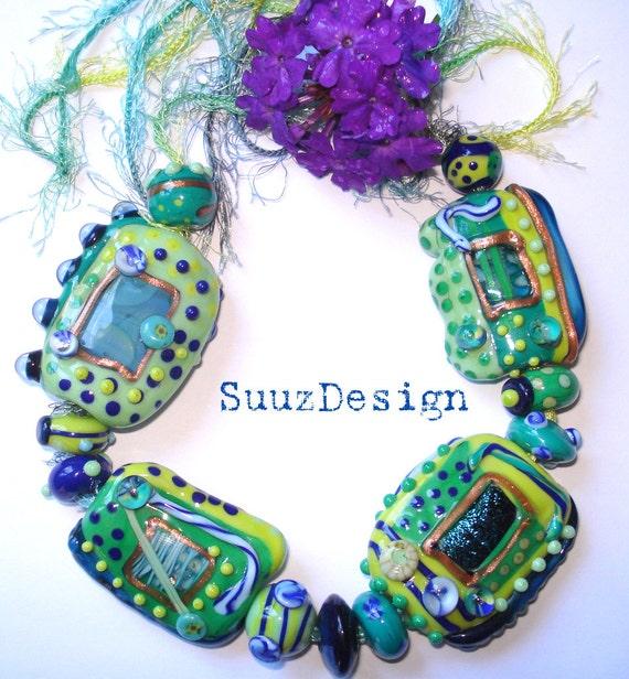 Ocean Breeze 2 - handmade lampwork FOCAL bead set by SuuzDesign,  SRA