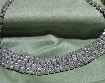 Vintage Rhinestone Necklace 14 Inch