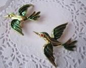 Vintage Goldtone Green Enamel Bird Brooch Pair