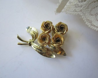 Vintage Goldtone Rose Brooch