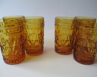 Vintage Colony Park Lane Amber Juice Glass Set of Six