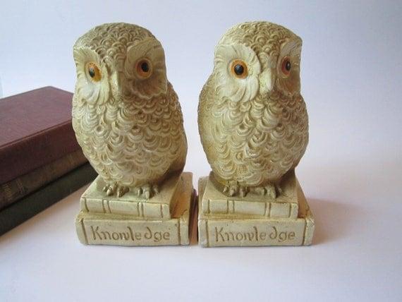 Vintage Cute Owl Bookend Pair