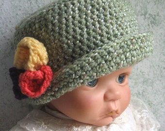 Baby Crochet Hat Pattern Downton Abbey Style With Flower Trim Multi Sized Easy To Make Baby Hat Pattern Beginners Pattern  Instant Download