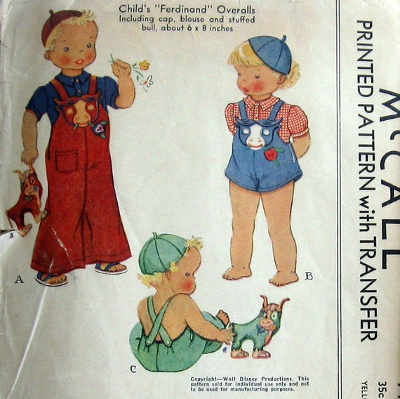 Vintage WALT DISNEY 1939 Toddlers Overalls Pattern With Blouse Cap And Ferdianad The Bull Transfer McCall 711 Sz2