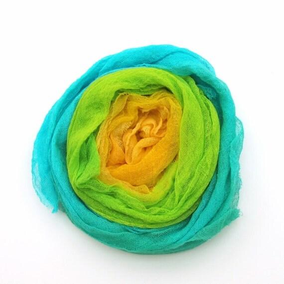SALE - Hand dyed cotton scrim, gauze bundle - bright yellow, lemon, lime green, turquoise