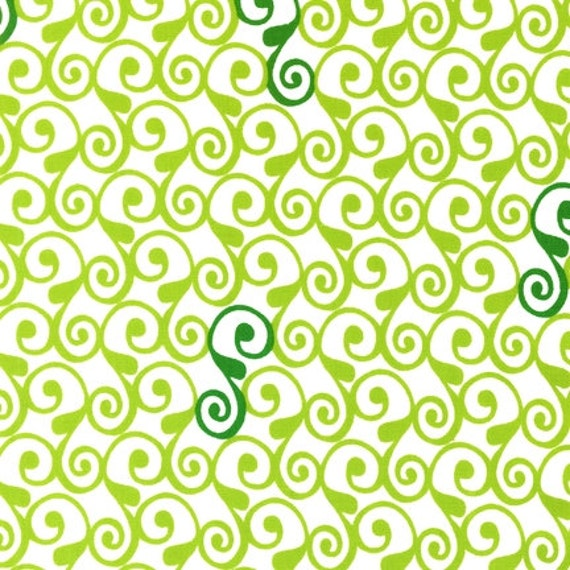 Perfectly Perched---Swirls in Green - 1 yard--Laurie Wisbrun for Robert Kaufman