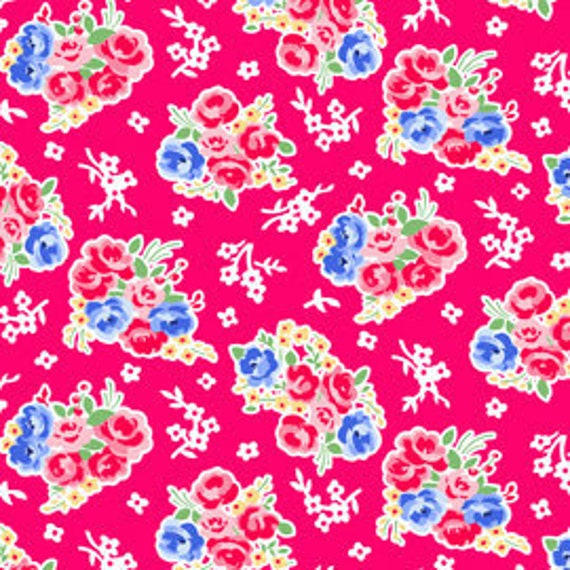 SALE---1 yard---Bouquet in Red, Pam Kitty Morning, Lakehouse Dry Goods