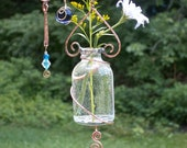 Asymmetrical Spirals Hanging Vase/Plant Rooter  Handmade in the Adirondacks