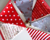 Mini Bunting TOMTE Red White Grey Scandi with little bells on each pennant