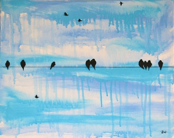 SALE Rainy Birds on a Wire Original Painting