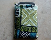 Cell Phone or Gadget Sleeve in Tropical Tapa Print Fabric