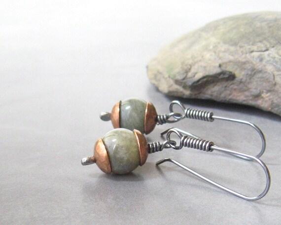 labradorite dangle earrings rustic dangle earring sterling ear wires copper bead caps