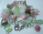 Pink Sea Glass Charm  Bracelet Seaglass Beach Glass Pastel Jewelry