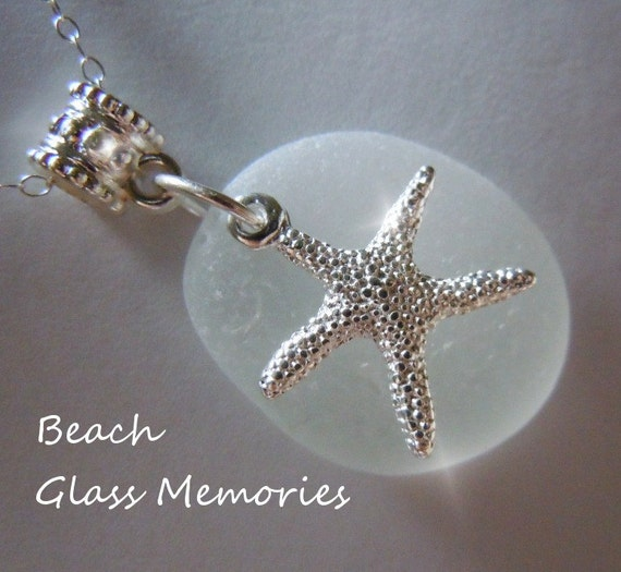 SALE Sea Glass with Starfish Necklace - Beach Glass - Seaglass