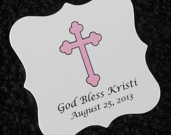 Personalized Baptism, Christening or Communion Favor Tags, pink cross, set of 100