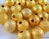 25 Gold Stardust Beads 8mm Round Brass - 25 pc - M7033-G25