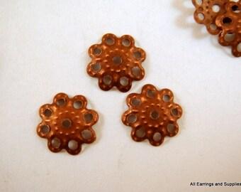 100 Antique Copper Flower Bead Caps 10mm NF - 100 pc - F4072BC-AC100