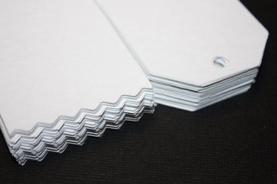 100 LARGE white cardstock TAGS with pinking shear edge