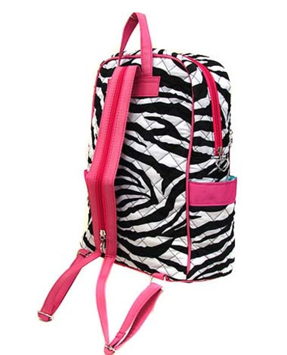 children personalized backpack zebra hot pink bookbag quilted