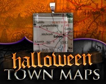 Hitchcock & Salem, Indiana Map Pendant