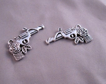Silver Pistol Gun Charm with Rose Lot of 4
