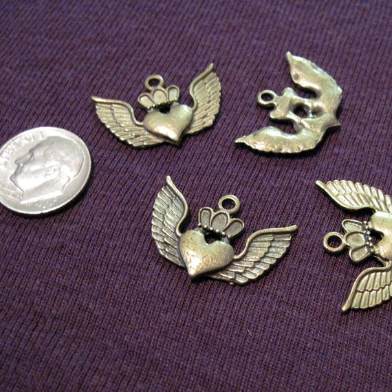 Antiqued Bronze Winged Heart Charm Lot of 6