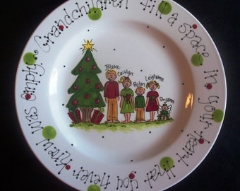 Hand Painted Christmas Plate for Grandparents. Great gift from Grandkids