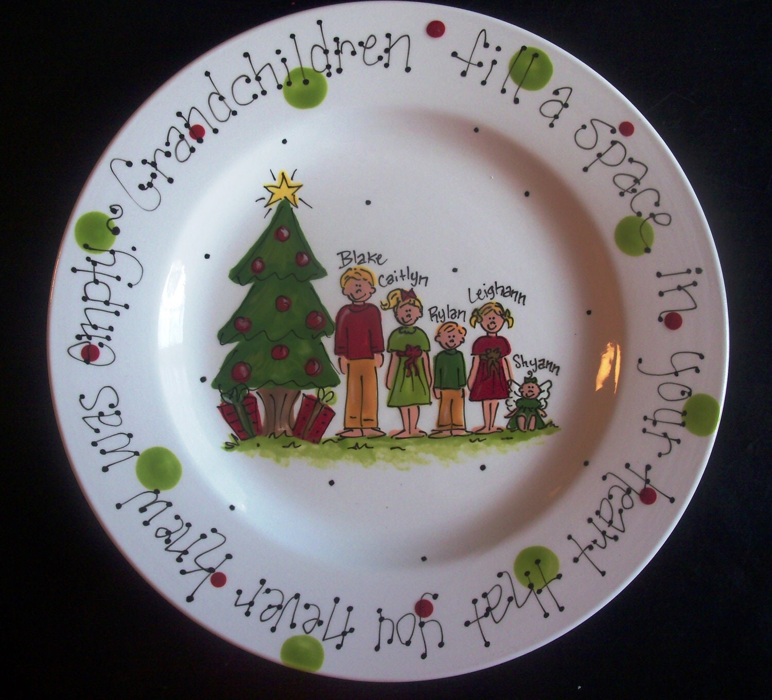 Hand Painted Christmas Plate For Grandparents. Great Gift From