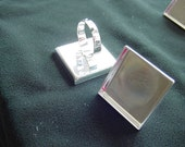 5 Square Ring Blanks Shiny Silver Adjustable  (DP503)