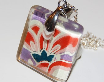Glass Tile Pendant - Purple and Red Flower Glass Square Pendant with Silver Chain