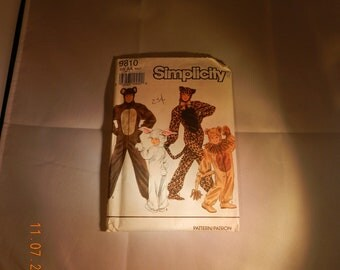 Costume Uncut Pattern Adult Size AA Small to Large Cat or Lion by Simplicity No.9810