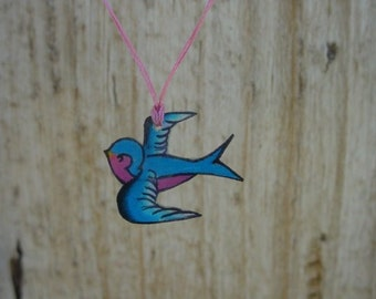 cute blue and pink tattoo songbird wish string necklace