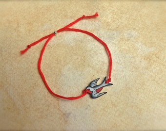 Cute Black White and Red tattoo style nautical sparrow best friend friendship BFF wish bracelet fully adjustable