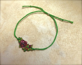 Cute Blood Red Vintage Tattoo Rose Vine with Leaves tattoo style best friend friendship wish bracelet fully adjustable
