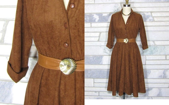 Vintage Day Dress, Microsuede, Burnt Umber, Elastic Shirt Waist, Medium, Large