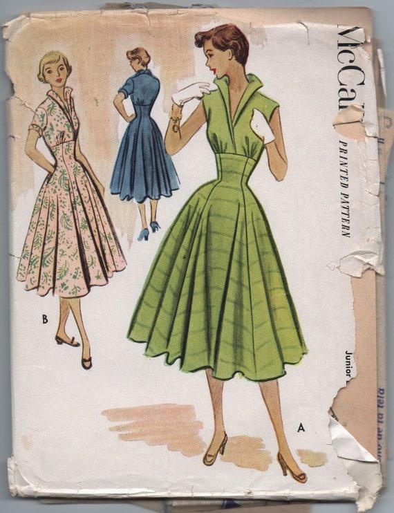 VERY RARE 1950s vintage pattern McCall's 8835 size 13 bust 31 waist 25 1/2 hips 34 Junior dress