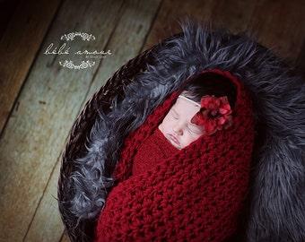 Baby Blanket Newborn Photo Prop, Sack, Blanket, in Burgundy Red -BOGO- Infant Photo Prop