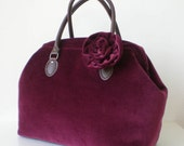 Velveteen Burgundy Boston bag with a corsage
