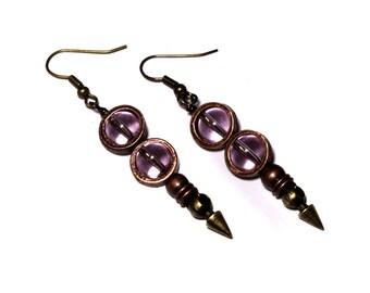 Steampunk Earrings - Pink Glass