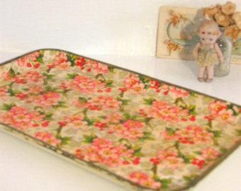 Chintz Paper Mache Tray with Hydrangeas - Floral Chintz -