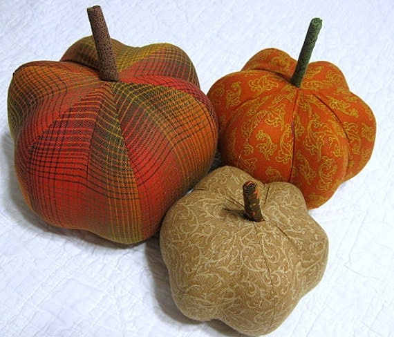 on HOLD for bspen . . . .. .fabric pumpkins - warm and cozy Fall - set of 3 p U m P k I nS - 02