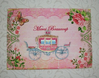 CINDERELLA CARRIAGE - Merci Beaucoup - Butterlies, Pink scrolls - Roses - Set of 4 notecards with envelopes - MB 126